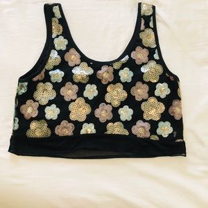 Tildon Black Crop Top with Sequin Flowers